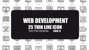 Web Development - 25 Thin Line Icons After Effects Template