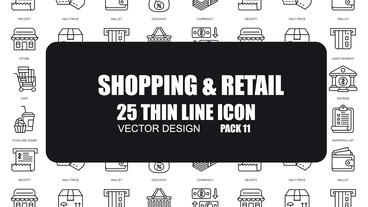 Shopping and Retail - 25 Thin Line Icons After Effects Template