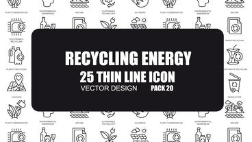 Recycling Energy - 25 Thin Line Icons After Effects Template