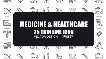 Medicine and Healthcare - 25 Thin Line Icons After Effects Template