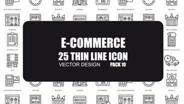 E-commerce - 25 Thin Line Icons After Effects Template