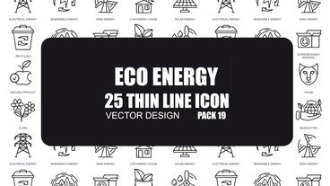 Eco Energy - 25 Thin Line Icons After Effects Template