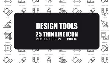 Design Tools - 25 Thin Line Icons After Effects Template