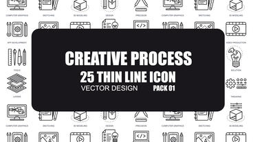 Creative Process - 25 Thin Line Icons After Effects Template