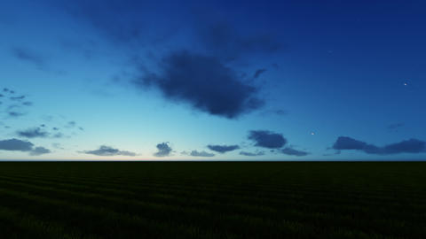 Camera movement in a circle. Twilight on a green field 영상물