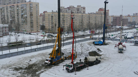 Pile driving at the construction site, time lapse Archivo