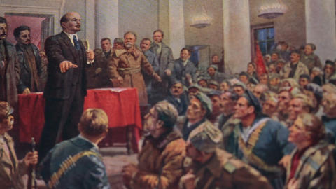 Lenin speaks at a congress Live Action