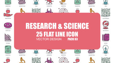 Research and Science - 25 Flat Line Icons After Effects Template