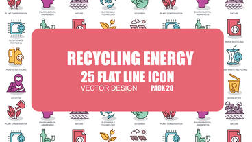 Recycling Energy - 25 Flat Line Icons After Effects Template