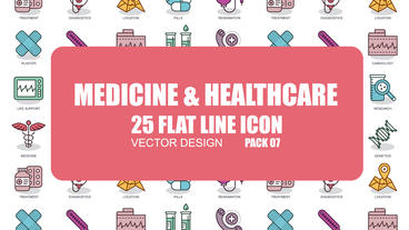 Medicine and Healthcare - 25 Flat Line Icons After Effects Template