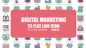 Digital Marketing - 25 Flat Line Icons After Effects Template