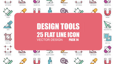 Design Tools - 25 Flat Line Icons After Effects Template
