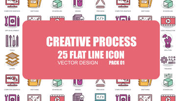 Creative Process - 25 Flat Line Icons After Effects Template