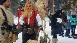 Razlog, Bulgaria January 12, 2019: Kukeri, mummers, traditional Bulgarian winter GIF