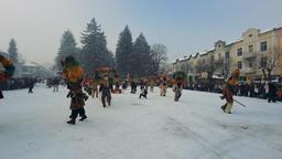 Razlog, Bulgaria January 12, 2019: Kukeri, mummers, traditional Bulgarian winter Footage