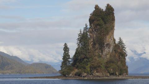 Misty Fiords Alaska Nature Landscape Landmark the New Eddystone Rock Footage