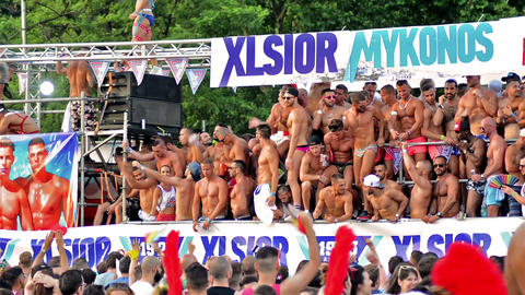 Madrid, Spain. July 2015. Group of men dancing in the parade of the Gay Pride Archivo