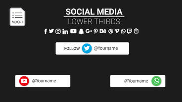 Social Media Lower Thirds (use three icons at once) Motion Graphics Template