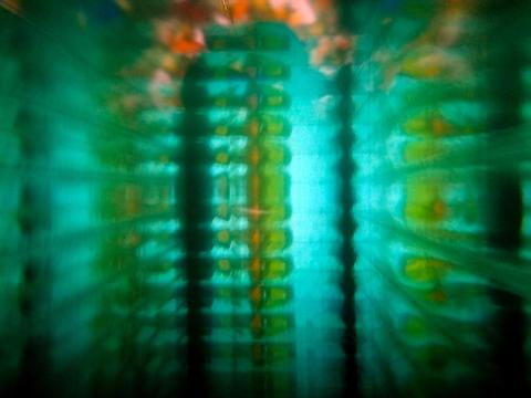 blured green colored mosaic decorative ornament. Matrix theme Photo