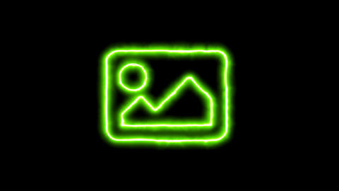 The appearance of the green neon symbol picture. Flicker, In - Out. Alpha Animation