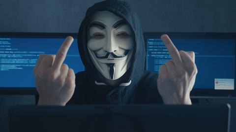 Cherkassy, Ukraine, January 10 2019: Dangerous Hacker Anonymous in mask of Guy Live Action