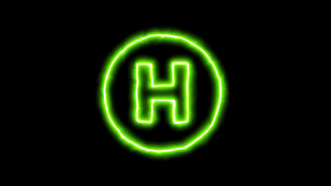 The appearance of the green neon symbol hospital symbol. Flicker, In - Out. Animation