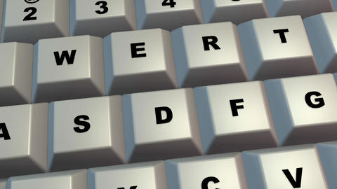 Computer keyboard , keys . 3d animation Animation