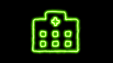 The appearance of the green neon symbol hospital. Flicker, In - Out. Alpha Animation