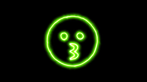 The appearance of the green neon symbol kiss. Flicker, In - Out. Alpha channel Animation