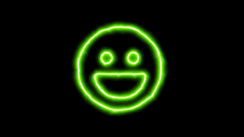 The appearance of the green neon symbol laugh. Flicker, In - Out. Alpha channel Animation