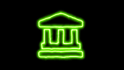 The appearance of the green neon symbol landmark. Flicker, In - Out. Alpha Animation