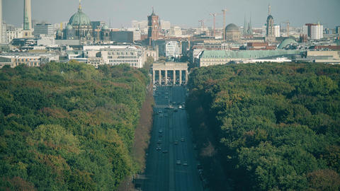 Telephoto lens shot involving most visited Berlin landmarks: Brandenburg Gate Footage