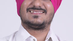 Smile of happy bearded Indian Sikh man smiling Stock Video Footage