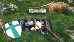 Historical reconstruction of medieval arms, bows, arrows, swords, chainmails, he Footage