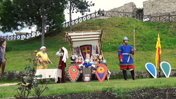 Historical reconstruction of medieval costumes, masks, haircuts, armory and ways Footage