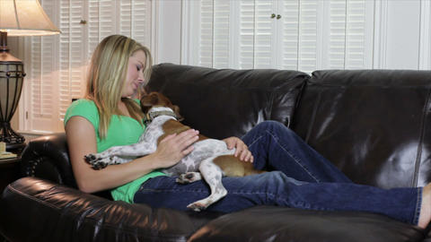 pretty girl with her dog on the couch Footage