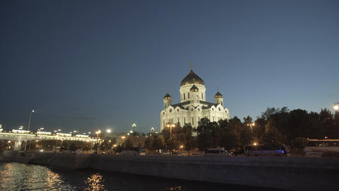 Moscow River And Cathedral Of Christ The Saviour Footage