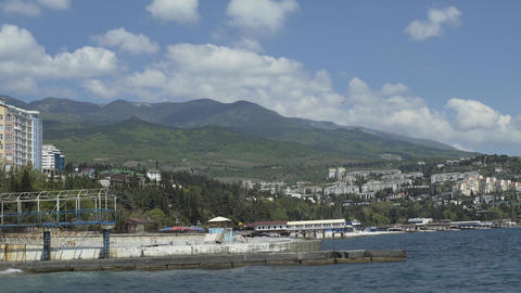 Pier On The Embankment Of The Resort Town Footage