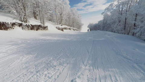 Skiing at snowed forest area action camera POV perspective Live Action