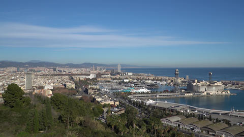 BARCELONA, SPAIN - CIRCA 2019: Panorama of Barcelona from Montjuic hill 영상물
