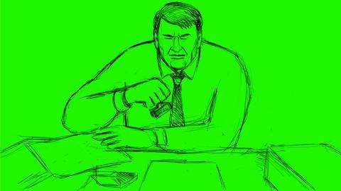 Bureaucrat Stamping Document Drawing 2D Animation Animation