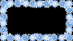 frame with blue flowers Animación