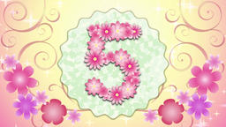 Pink flower countdown 5 Animation