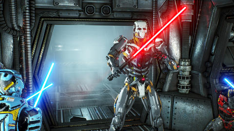 Astronauts with laser swords hid in an ambush on an alien robot invader on his 애니메이션