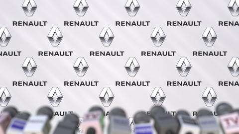 Press conference of RENAULT, press wall with logo and microphones, conceptual Footage