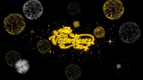 Happy Valentine's day love Golden Text Blinking Particles with Golden Fireworks Footage