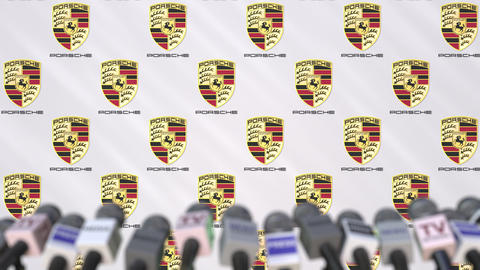 Media event of PORSCHE, press wall with logo and microphones, editorial Footage