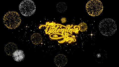 Happy Valentines day love heart Golden Text Particles with Fireworks Display Archivo