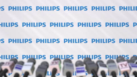 Press conference of PHILIPS, press wall with logo and microphones, conceptual Footage