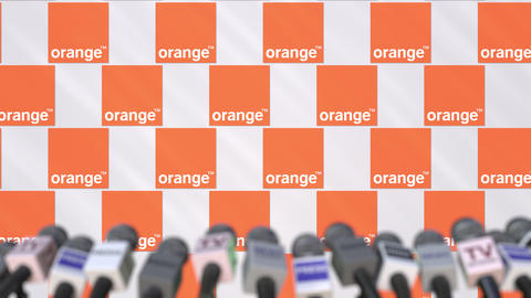 Media event of ORANGE, press wall with logo and microphones, editorial animation Footage